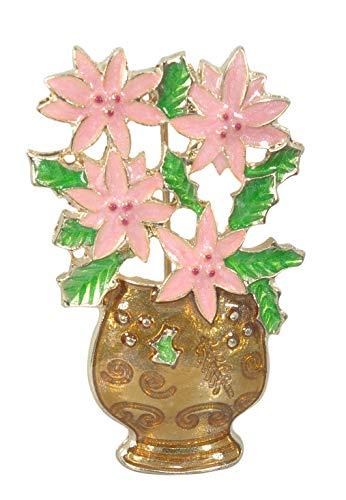 Gyn&Joy Pink Enamel Poinsettia in Vase Christmas Flower Brooch Pin