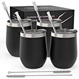 Stainless Steel Stemless Wine Tumbler 4 Pack 12 oz | Double Wall Vacuum Insulated Wine Tumbler with Lids and Straws Set of Four for Coffee, Wine, Cocktails, Ice Cream | Powder Coated Black