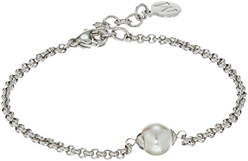 Majorica 8 mm White Round Pearl On Rhodium Plated Steel Chain Link Bracelet, 7.5-8.5