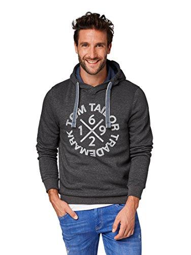 TOM TAILOR Herren Sweathoody mit Kaputze und Druck Sweatshirt, Grau (Black Grey Melange 2572), Large