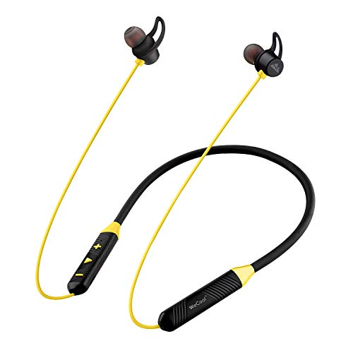 WeCool N1 Wireless Earphones with Dynamic Drivers for Immersive Music Experience, IPX5 Sweatproof, 12 Hours Playtime, Flexible Neckband Headphones (Yellow)