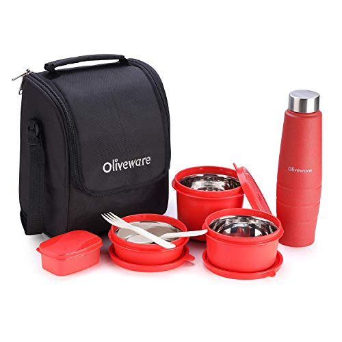 Oliveware Teso Lunch Box with Bottle 3 Stainless Steel Containers, Pickle Boxes, Assorted Insulated Fabric Bag Leak Proof, Microwave Safe Full Meal and Easy to Carry (Red)