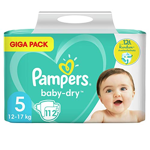 Pampers Baby-Dry Größe 5, 112 Windeln, bis zu 12Stunden Rundumschutz, 11-16kg, Giga Pack