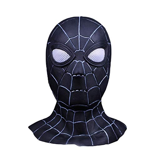 QWEASZER Schwarze Spider-Man Maske Cosplay Maskerade Helm Halloween Maske Erwachsener Spider-Man: Far from Home Maske, Spiderman Hood Helm Comics Hero Kopfbedeckung Kostüm,Black-0cm~60cm