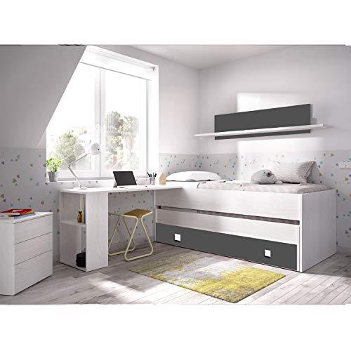 Cama nido con escritorio incorporado y almacenamiento
