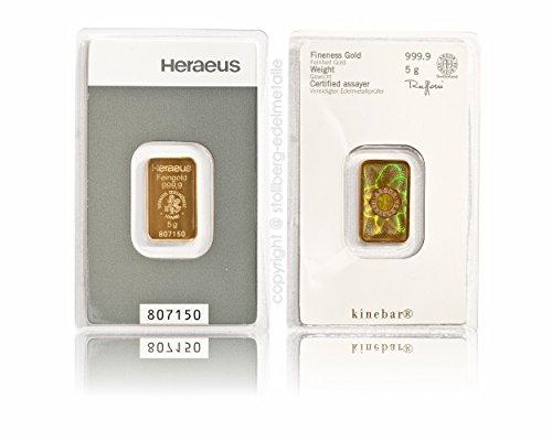 Heraeus Kinebar 5g Gramm Goldbarren 999.9