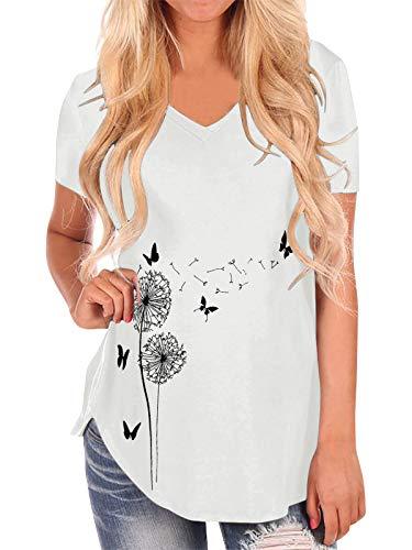 Style Dome Camisetas Mujer Girasol Impreso Tops de Manga Corta Camiseta con Cuello en V Dobladillo Largo Tops Casuales de Verano Blusa Básica Blusa Básica