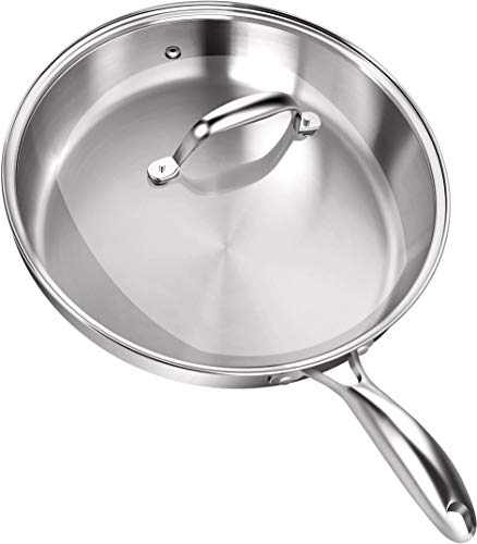 Stainless Steel Skillet with Glass Cover - 12 Inch - Induction Compatible - 30 x 6.8 cm -...