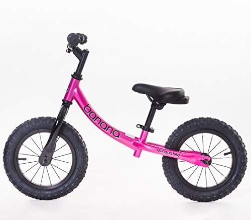 Banana GT Balance Bike - Neumáticos de aleación de 12 pulgadas para niñas y niños de 2, 3, 4, 5 años de edad, Rosa (Candy Pink)