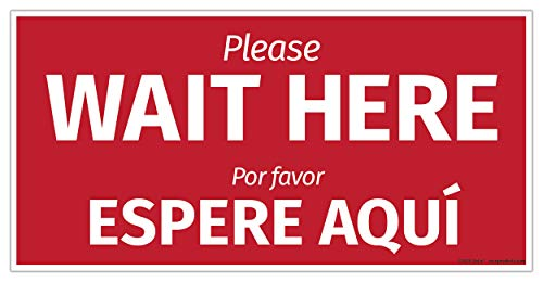 Social Distancing Sign | Wait Here Floor Sign | Stand Here Floor Sticker Social Distancing | 6 Feet Distance Sign | Wait Here Sign Espere Aqui | Stand Here Stickers in English & Spanish 12 x 6 inches