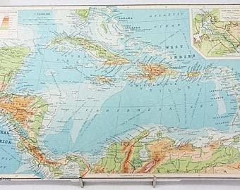 MG global Mapa del Caribe de las Indias Occidentales 1936 Grande Centroamérica Mapa Arte Histórico Antigüedades Viajes Litografía Arte de pared Histórico Viajes sin marco Arte de pared