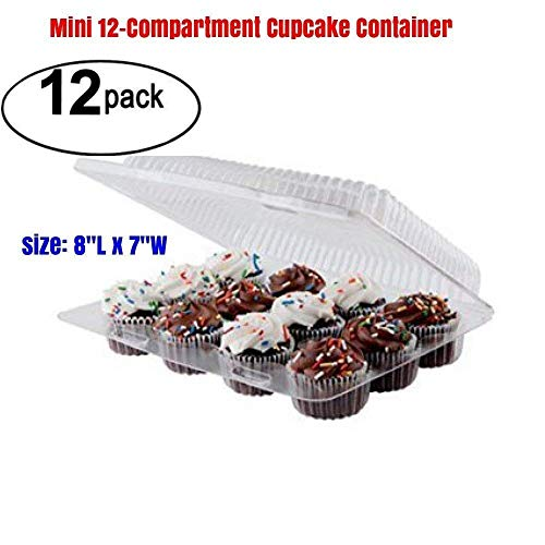 MINI 12 compartment cupcake boxes, cupcake containers 12 Compartment mini cupcake containers pack of 12, Cupcake Boxes, mini cupcake containers plastic disposable 12 Pack Cupcake Containers Set of 12