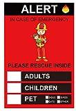 EmergencyPeopleAlertPetFinderSticker4X6inchPeopleRescueStickersHomeFire SafetyforChildrenAdultsandPet8PackFamilyRescueDecalStickerforWindowandDoor