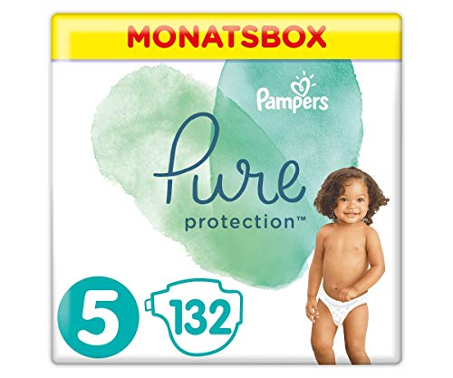 Pampers Pure Protection Windeln, Gr.5, 11+kg, Monatsbox (1 x 132 Windeln), Mit Premium-Baumwolle Und Pflanzenbasierten Materialien