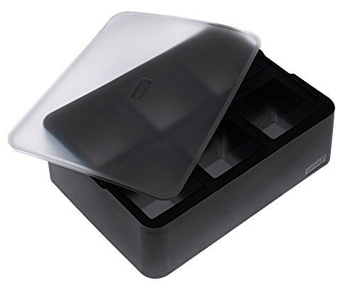 Lurch 240715 Cubes Moule à glace en silicone 100 % platine sans BPA avec couvercle pour 6 glaçons (5 x 5 cm) Noir