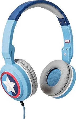 Tribe Marvel Cuffie On-Ear pieghevoli con Microfono incorporato I Gaming Headset per Smartphone, PC, PS4 e Xbox - Captain America