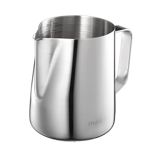 Mari Chef - 600ml Stainless Steel Milk Pitcher Frothing Jug Measuring Cup with Internal Markings