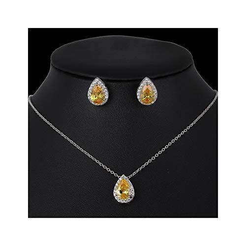 MLKCL - Juego de collar de cristal (color metal: amarillo)