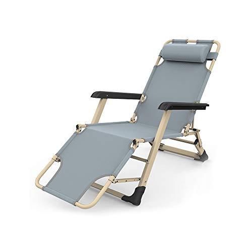YQQ Chaise De Plage Chaise Pliante Fauteuil De Repos Chaise Longue Chaise De Pause Déjeuner 178 * 66 * 98CM (Couleur : Gray)