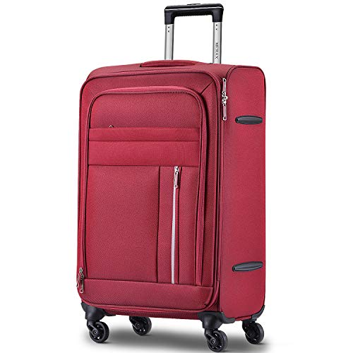 Merax Spinner Soft Shell Luggage Super Lightweight Suitcases 4 Wheels(20/24/28/SET of 3) (Large (28 inch), Red)