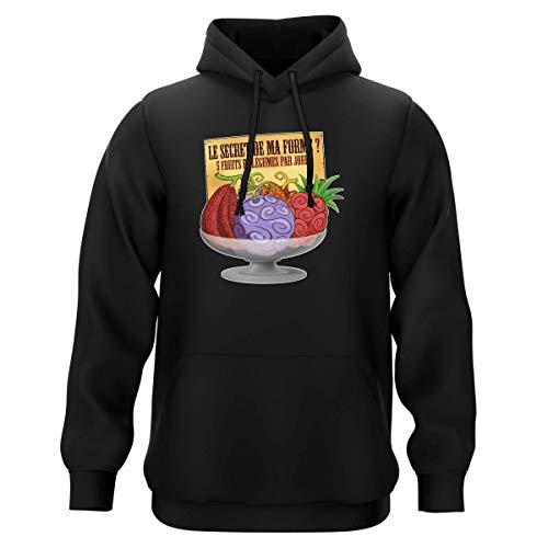 Sweat-Shirt à Capuche Noir Parodie One Piece - Fruit du Démon - Le Secret de la Forme des Pirates de Grand Line ! (Sweatshirt de qualité Premium de Taille XXL - imprimé en France)