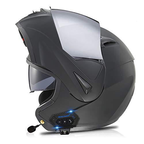 Casco de Motocicleta Integrado Bluetooth, Cascos modulares de Moto de Visera Doble con Visera Completa para Hombres y Mujeres Adultos Certificación ECE D,L