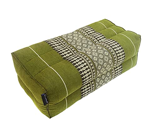 Collumino® Traditional Thai Kapok Yoga Support Block Cushion Meditation Pillow size 35 x 15cm (Green)