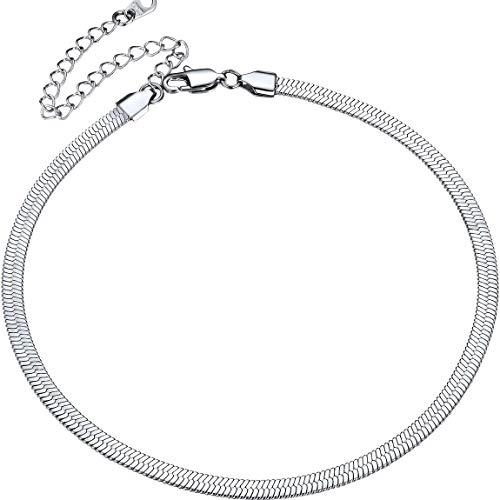 Collar Serpiente 5MM Cadenas Planas Finas Choker Gargantilla Acero Inoxidable Plateado Cadena de Serpiente Mágico de Estilo Italia 32cm Largo