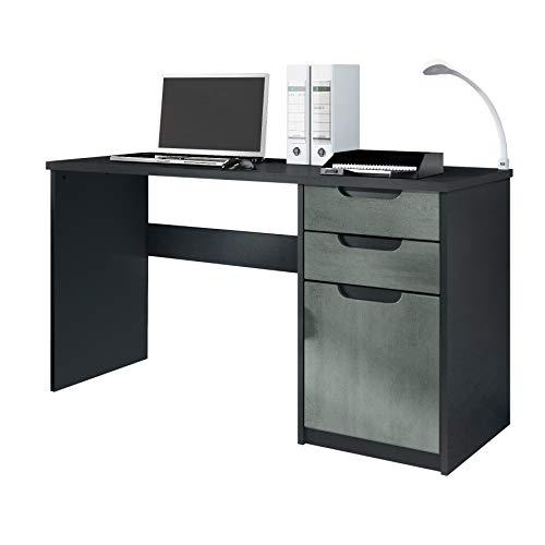 Vladon Escritorio Mesa para computadora Mueble de Oficina Logan, Cuerpo en Negro Mate/frentes en hormigón Oscuro