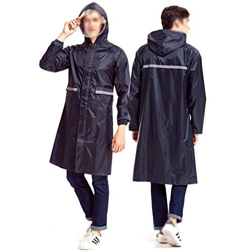 Regenjas mannen en vrouwen volwassenen wandelen buiten klimmen rijden elektrische fiets accu auto regenbestendige poncho (Color : Navy blue, Size : XXXL)