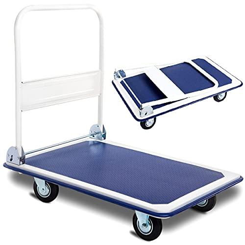 Zimbala Folding Push Cart Dolly, 660lbs Rolling Hand Push Moving Platform, Heavy Duty Foldable Push Cart w/Swivel Wheels, Flatbed Luggage Cart for Warehouse, Easy Storage Hand Truck