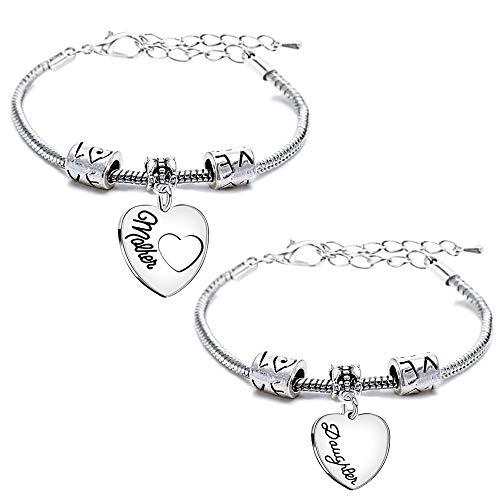Juego de 2 pulseras con cadena tipo serpiente, regalo para el día de la madre o para hija