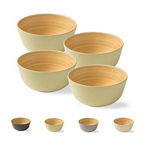 BIOZOYG 4 Stück Premium Bambusschale grün rund 450 ml I Bambus Geschirr Schüssel Müslischale Obstschale Holzschale Salatschüssel Suppenschale Servierschüssel Salatschale