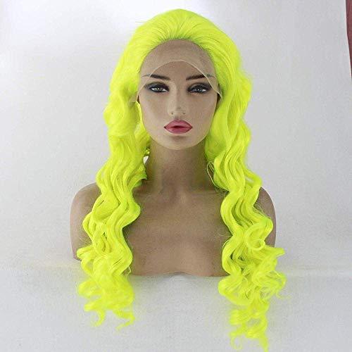 Robe Perruque Avant Dentelle Réaliste Perruques Bouclés Femmes Mode Perruque Femelle Petit Volume Avant Dentelle Fibre Chimique Cheveux Longs Cheveux