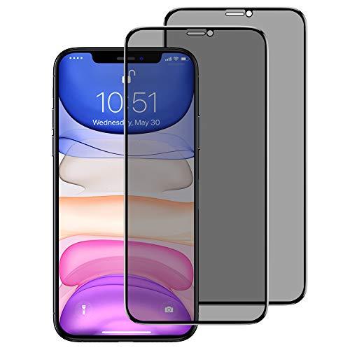 BENKS [2 Stück Schutzfolie für iPhone 11, iPhone XR, Privacy Anti Spion Dunkel Folie Vollständige 9H Härtegrad Blasenfrei Sichtschutzfolie Displayschutzfolie für iPhone XR/11-6,1 Zoll