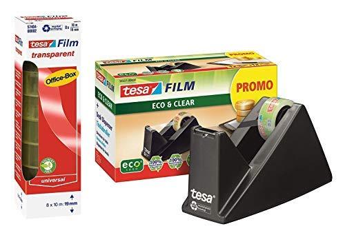 tesa Easy Cut® Tischabroller Economy ecoLogo®, inkl. 1 Rolle tesafilm® / Büro-Spar-Set (1x Abroller + 8 Rollen extra)