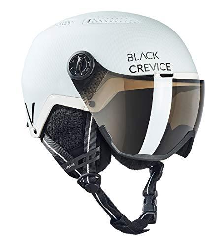 Black Crevice Chamonix Chamonix voor volwassenen, uniseks, met vizier, skihelm, mat wit carbon/zwart, maat M (55-58 cm)