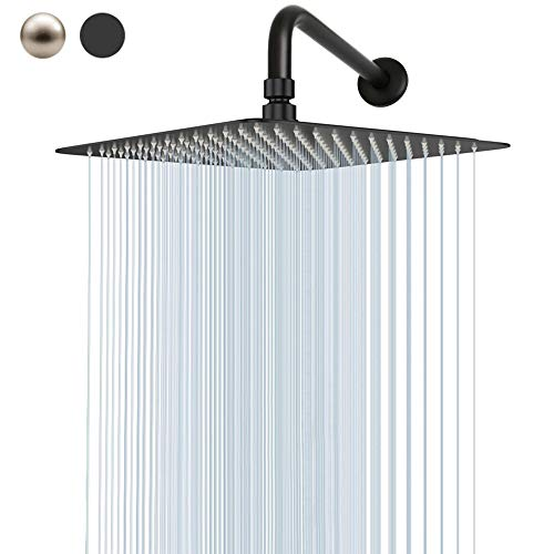 Rain Shower Head With Extension Arm, NearMoon Square Shower Heads, Large Stainless Steel Rainfall Showerhead-Waterfall Full Body Coverage (12 Inch Shower Head With 15 Inch Shower Arm, Matte Black)