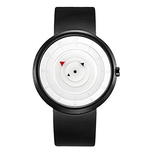 Moda Reloj de Cuarzo, Creativo Dial de Placa Giratoria Reloj Impermeable, Reloj Deportivo Unisex Reloj de Pulsera Casual único, Relojes al Aire Libre Simples Correa de Caucho
