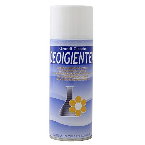 Rampi DeoIgientex - Deodorante Spray Igienizzante Igiensoft Professionale Tessuti Ambiente Auto Cassetti Scarpe Armadio Profumo Hotel Palestra Talco Accessori Lavanderia - 400 ml - Made in Italy