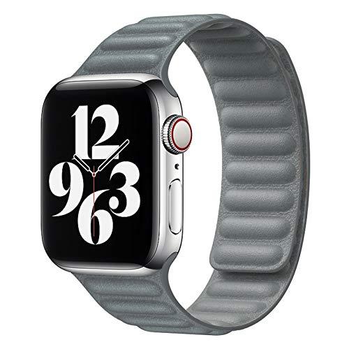 ZLRFCOK Correa de cuero para Apple Watch Band 44 mm 40 mm iWatch 38 mm 42 mm pulsera de bucle magnético para Apple Watch Series 5 4 3 6 SE (Color de la correa: gris, ancho de la correa: 38...