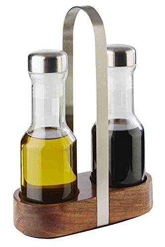 """APS Essig- & Öl-Menage """"Wood\"""", Essig und Öl Gefäße, matt poliert, Glasbehälter mit Edelstahl-Deckel und Drehverschluss, 7,5 x 16 cm, 24,5 cm Höhe"""