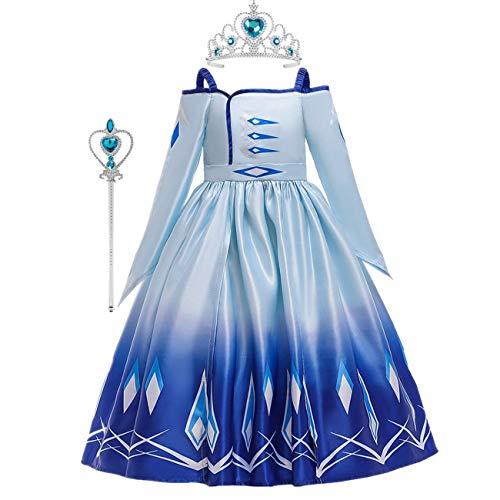 O.AMBW ELSA Kostüm Mädchen Schneekönigin 2 Kostüm Prinzessin Cosplay Ballkleid Halloween Geburtstag Prom Blau Lila Schulterfrei Langarm Kleid 110-160cm