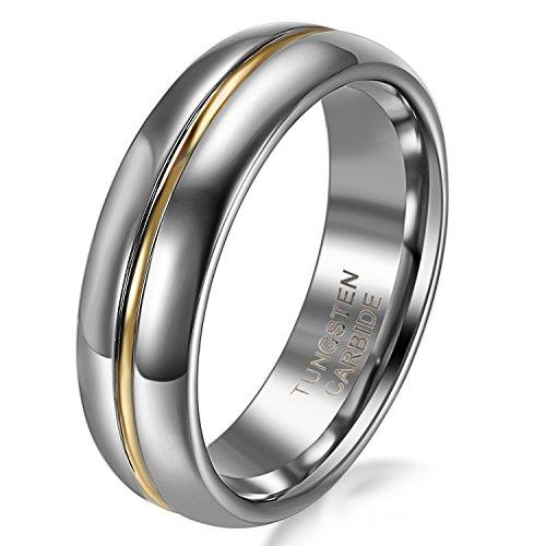 JewelryWe joyería 6 mm Ancho carburo de tungsteno Oro Ranura Damen-Anillo Centro Pareja Anillos Boda Banda Compromiso