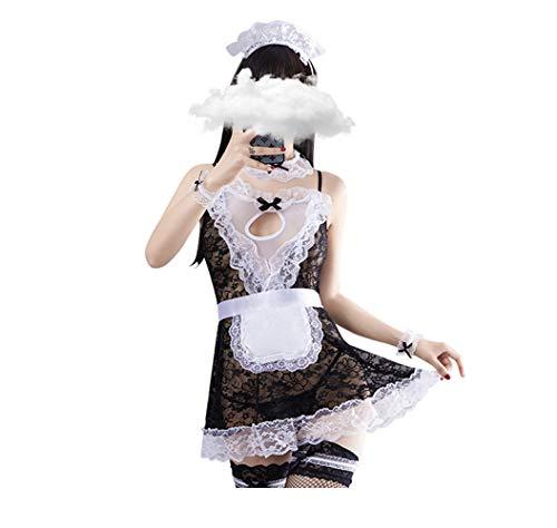 JasmyGirls Traje de lencería sexy para mujer, talla grande, de encaje, para disfraz, disfraz de dama francesa, travieso, anime, vestido de criada, delantal