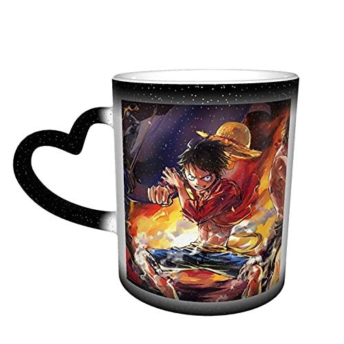 One Piece Anime Tasse Kaffeetasse Keramik wärmeempfindliche Farbwechsel Tassen Wasser Tee Tasse Kawaii Sternenhimmel Neuheit Reise Kaffee Tasse