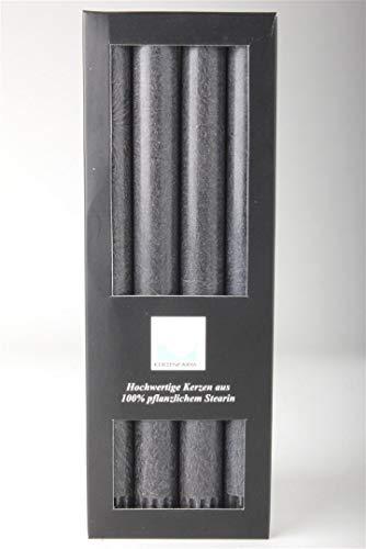 Stearin Stabkerzen, 250 x 22 mm, Anthrazit / Schwarz, 4er-Pack, Bio - Kerzen / Stearin - Leuchterkerzen