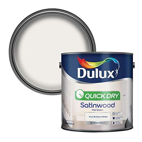 Dulux Szybkoschnąca farba satynowa do drewna i metalu - czysta brylantowa biała 2,5 l