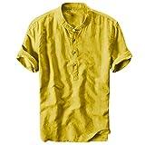 Charku 夏服 メンズ Tシャツ 半袖 五分袖 綿 無地 服 ボタン付き 軽い 柔らかい シルエット おしゃれ ファッション 人気 快適 薄手 麻 ストリート リンネル カジュアル 夏服 シャツ ブラウス トップス カジュアル トップ シャツ