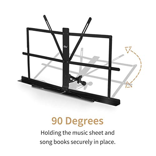 Eastar ESMF-3 Tabletop Music Stand Table Top Adjustable Portable Desktop Sheet Music Stand Folding Foldable Desk Top Music Book Holder Lightweight with Carrying Bag, Black